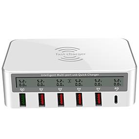 olcso USB Töltők-usb töltő tyinno 818pf 7 asztali töltő állomás vezeték nélküli időzítő nélkül / LCD kijelző / kreatív us plug / eu plug / uk plug töltő adapter