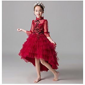 cheap Flower Girl Dresses-A-Line Asymmetrical Flower Girl Dress - Taffeta / Tulle 3/4 Length Sleeve High Neck with Appliques / Cascading Ruffles by LAN TING Express