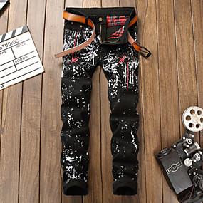 voordelige Nieuw Binnengekomen-Heren Street chic / Punk & Gothic Chinos (zwaar katoen) Broek - Print Zwart US32 / UK32 / EU40 US34 / UK34 / EU42 US36 / UK36 / EU44