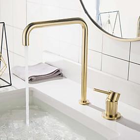 رخيصةأون حنفيات-بالوعة الحمام الحنفية - واسع الانتشار الذهب المصقول واسع الأنتشار التعامل مع واحد اثنين من الثقوبBath Taps