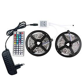 olcso LED szalagfények-led 12v smd 5050 rgb 10m led strip fények led többszínű szalag 44keys távoli 300 LED-es nem vízálló fénycsíkok vezetővel