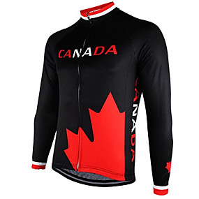 cheap Cycling Clothing-21Grams Canada National Flag Men's Long Sleeve Cycling Jersey - Black / Red Bike Jersey Top Thermal / Warm UV Resistant Breathable Sports Winter 100% Polyester Mountain Bike MTB Road Bike Cycling