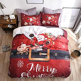 halpa Kodin tekstiilit-naimisiin joulu vuodevaatteet joulupukki lahja painettu 3D arkki tyynyliina ja pussilakana sarja punainen vuodevaatteet vuodevaatteet