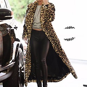 Недорогие Женская одежда из кожи и меха-Жен. Повседневные Наступила зима Обычная Искусственное меховое пальто, Леопард Отложной Длинный рукав Искусственный мех Хаки