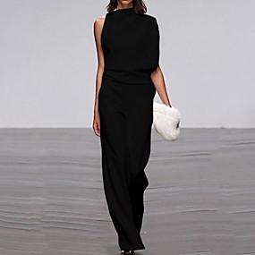 cheap Women's Jumpsuits & Rompers-Women's Black Wine White Jumpsuit, Solid Colored S M L