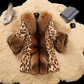 cheap Women's Furs & Leathers-Women's Daily Regular Fur Coat, Leopard Rolled collar Long Sleeve Faux Fur Yellow
