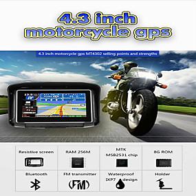 Недорогие Автоэлектроника-4,3-дюймовый водонепроницаемый ipx7 мотоцикл GPS-навигатор с GPS-навигатором с FM-Bluetooth 8G Flash Prolech Автомобильный GPS-трекер Win CE поддержка наушников a2dp + бесплатная карта