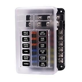 Недорогие Автоэлектроника-Автоматическая схема автомобиля 32 В / независимый положительный и отрицательный блок предохранителей с одним и несколькими выходами со светодиодной индикаторной лампой 1 в 12 / распределительный