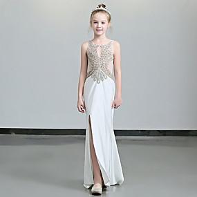 cheap Flower Girl Dresses-Sheath / Column Floor Length Flower Girl Dress - Polyester Sleeveless Jewel Neck with Paillette by LAN TING Express