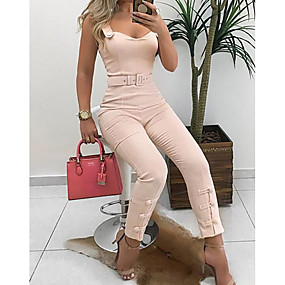 cheap Women's Jumpsuits & Rompers-Women's Wine Blushing Pink Jumpsuit, Solid Colored S M L