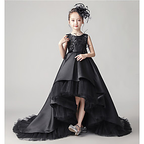 cheap Flower Girl Dresses-A-Line Asymmetrical / Court Train Flower Girl Dress - Taffeta / Tulle Sleeveless Jewel Neck with Beading / Appliques / Bow(s) by LAN TING Express