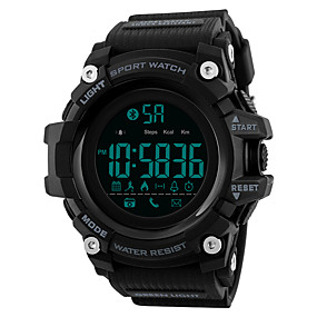 Недорогие Фирменные часы-SKMEI Муж. Спортивные часы электронные часы Цифровой силиконовый Черный / Синий / Красный 30 m Защита от влаги Bluetooth Календарь Цифровой На каждый день Мода - Зеленый Синий Хаки / Один год
