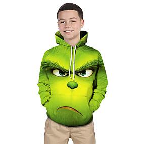cheap Christmas Deals-Kids Toddler Boys' Active Basic Fantastic Beasts Geometric Print Color Block Print Long Sleeve Hoodie & Sweatshirt Green