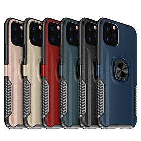 voordelige iPhone 11 Pro Max hoesjes-lederen armor magnetische ring telefoon hoesje voor iPhone 11 pro max / iphone 11 pro / iphone 11 schokbestendige harde pc-standaard hoes voor iphone xs max xr xs x 8 plus 8 7 plus 7 6 plus 6