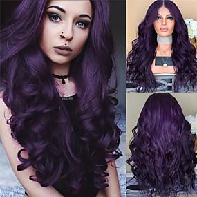 cheap Health & Beauty-Synthetic Wig Body Wave Middle Part Wig Long Dark Purple Synthetic Hair 26 inch Women's Women Purple