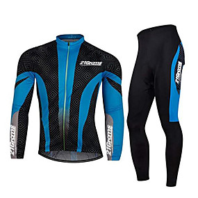 cheap Cycling Clothing-21Grams Men's Long Sleeve Cycling Jersey with Tights Winter Spandex Polyester Black / Blue Patchwork Bike Clothing Suit Thermal / Warm Breathable Quick Dry Anatomic Design Reflective Strips Sports