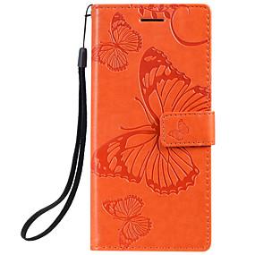 voordelige Galaxy J3(2017) Hoesjes / covers-hoesje voor Samsung Galaxy Note 10 Galaxy Note 10 plus telefoonhoes PU-leer materiaal reliëf vlinderpatroon effen kleur telefoonhoes