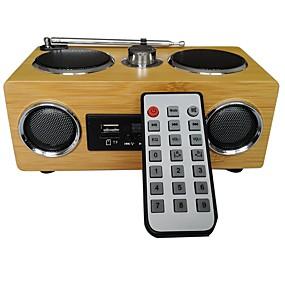 olcso Hangszórók-mini hordozható bambusz fa kártya hangszóró rádió és távirányító funkcióval