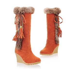 cheap Women's Shoes-Women's Boots Snow Boots Wedge Heel Round Toe Suede Mid-Calf Boots Fall & Winter Black / Brown / Orange