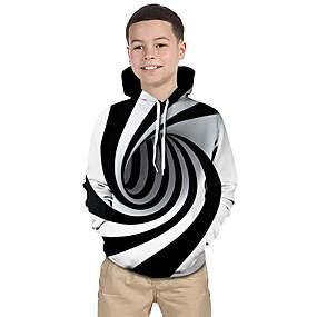 cheap Christmas Deals-Kids Toddler Boys' Active Basic Black & White Fantastic Beasts Striped Geometric Print Print Long Sleeve Hoodie & Sweatshirt White