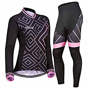 cheap Cycling Clothing-21Grams Women's Long Sleeve Cycling Jersey with Tights Winter Pink / Black Bike Clothing Suit Thermal / Warm Breathable Quick Dry Anatomic Design Ultraviolet Resistant Sports Geometric Mountain Bike