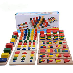 cheap Models & Building Toys-Montessori Teaching Tool Pegged Puzzle Math Toy 8-14 pcs compatible Wooden Legoing Cool Education Boys' Girls' Toy Gift / Kid's / Develop Creativity