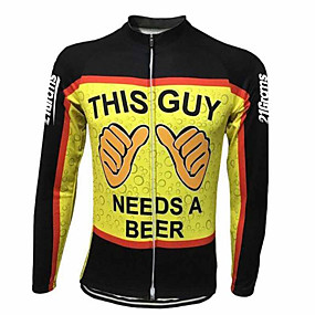 cheap Cycling Clothing-21Grams Men's Long Sleeve Cycling Jersey Winter Spandex Polyester Black / Yellow Funny Oktoberfest Beer Bike Jersey Top Mountain Bike MTB Road Bike Cycling Thermal / Warm UV Resistant Breathable