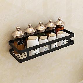 olcso Tárolás és rendszerezés-fürdőszoba függő kosár polc fekete rozsdamentes acél matt fekete lyukasztó hely fűszertartó konyha tároló állvány
