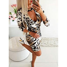 cheap New Arrivals-Women's Daily Wear Basic Sheath Dress - Leopard Print Khaki S M L XL