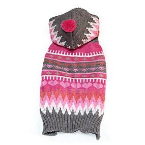 preiswerte Haustierzubehör-Hunde Pullover Geometrisch Lässig / Alltäglich Warm-Ups Winter Hundekleidung Fuchsia Kostüm Acrylfasern XXS XS S M L