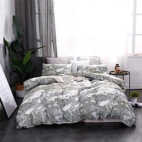 halpa Kodin tekstiilit-Pussilakanasetit erittäin pehmeästä polyesteri / polyamidista marmorikuviopainetut 3-osaiset vuodevaatteet