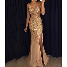 cheap New Arrivals-Women's Cocktail Party Prom Birthday Sexy Elegant Maxi Flapper Dress - Solid Color Sequins Split Glitter Deep V Gold Pink S M L XL