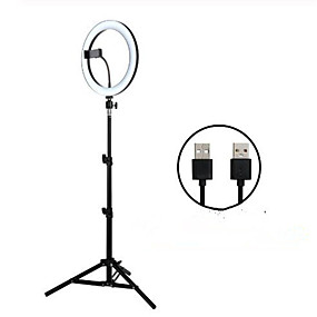 cheap New Arrivals-26cm LED Selfie Ring Light 24W 5500K Studio Photography Photo Fill Ring Light with Tripod for iphone Smartphone Makeup