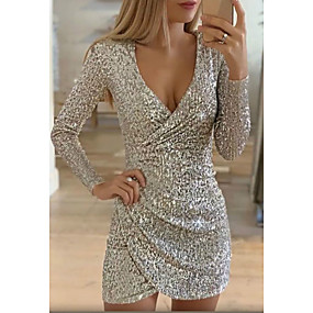 cheap Party Dresses-Women's Cocktail Party Going out Sexy Mini Sheath Dress - Solid Colored Sequins Glitter Print Deep V Silver S M L XL