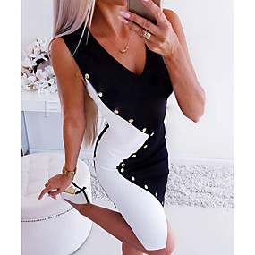 cheap New Arrivals-Women's Party Daily Wear Camisole Bodycon Black and White Dress - Color Block Patchwork Button Color Block Deep V Summer Black S M L XL