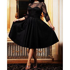 povoljno Novo u ponudi-Žene Kentucky Derby Crn Haljina Elegantno Koktel zabava Izlasci A kroj Jednobojni Mrežica Vezanje straga S M