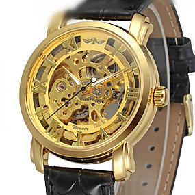 Недорогие Фирменные часы-WINNER Муж. Нарядные часы Часы со скелетом Наручные часы С автоподзаводом Кожа Черный 30 m С гравировкой Аналоговый Роскошь Классика Винтаж - Золотой / Нержавеющая сталь