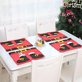 olcso Tányéralátét-karácsonyi díszek edények ételek kések villák evőeszközök mat karácsony újév asztali dekoráció kiegészítők