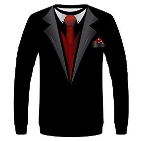 tanie NOWOŚCI-Rozmiar UE / USA T-shirt Męskie Moda miejska / Przesadny Okrągły dekolt Graficzny / Solidne kolory Czarny / Długi rękaw