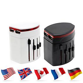 olcso Akkumulátorok & töltők-waza® univerzális adapter 4.8a 2 usb töltőcsatlakozó világszerte egy univerzális dugaszolható átalakítóban