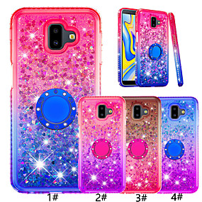 cheap Galaxy J7(2017) Cases / Covers-Case For Samsung Galaxy J7 (2017) / J7 (2018) / J6 (2018) Ring Holder / Glitter Shine Back Cover Color Gradient Soft TPU