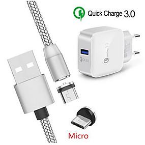 olcso USB Töltők-mágneses mikro usb töltő kábel alcatel 1s qc 3.0 gyors töltő Samsung a3 a5 2016 j3 j7 a6 a7 2018 huawei y5 y7 p smart 2019