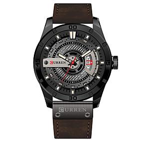 Недорогие Фирменные часы-CURREN Муж. Нарядные часы Часы-браслет Кварцевый Стеганная ПУ кожа Черный / Коричневый Защита от влаги Календарь Новый дизайн Аналоговый Классика На каждый день Мода - / Нержавеющая сталь