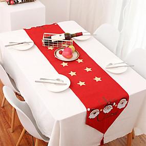 رخيصةأون شرشفات الطاولة-35x178 سنتيمتر عيد الميلاد سماط سانتا كلوز ديكور المنزل راية سماط
