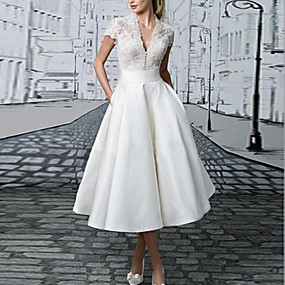 cheap New Arrivals-Women's 2020 Daily Wear Basic Maxi Slim A Line Dress - Solid Colored V Neck Spring & Summer Lace White S M L XL