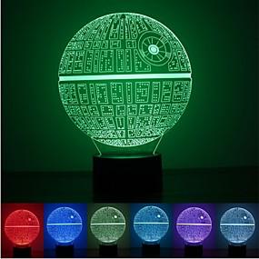 tanie Dekoracje metalowe-1 sztuk siła budzi wielobarwną lampę stołową gwiazda śmierci gwiazda 3d gwiazda śmierci bulbing światło dla fanów Star Wars