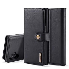 Недорогие Чехлы и кейсы для Galaxy Note 8-Кейс для Назначение SSamsung Galaxy Note 9 / Note 8 / Galaxy Note 10 Кошелек / Бумажник для карт / со стендом Чехол Однотонный Настоящая кожа
