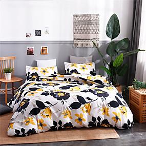 halpa Kodin tekstiilit-Pussilakanasetit erittäin pehmeät polyesteri / polyamidi kukka- / kasvitieteellisesti painetut 3-osaiset vuodevaatteet