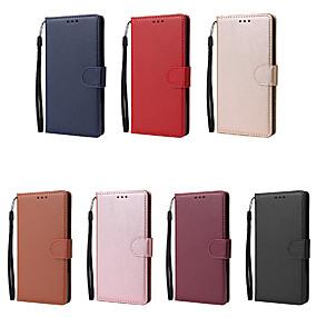 Недорогие Чехлы и кейсы для Galaxy Note 8-Кейс для Назначение SSamsung Galaxy Note 9 / Note 8 / Note 5 Бумажник для карт Чехол Однотонный Кожа PU