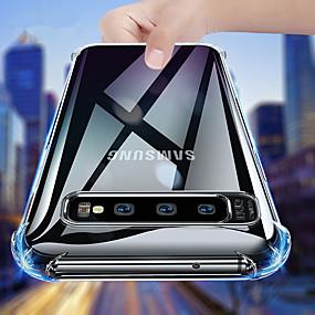 voordelige Galaxy S9 Plus Hoesjes / covers-luxe schokbestendige siliconen telefoonhoes voor Samsung Galaxy S10 Plus S10E S9 Plus S8 Plus S7 Edge Cases Transparante bescherming Back Cove